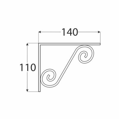 WOZ 150 HB konzole dekorativní kovaná 140×110 gradovaná černá