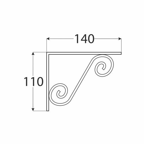 WOZ 150 HB konzole dekorativní kovaná 140x110 gradovaná černá 1