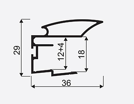 Madlo S ALFA II 16/18mm oliva nasouvací 03627, délka 2,7m 1