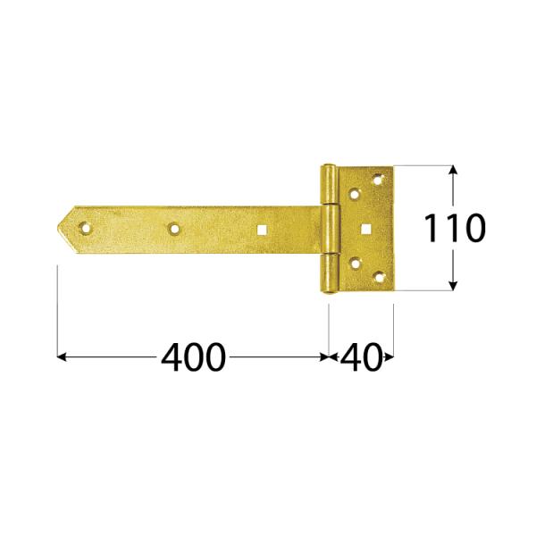 ZBW 400 Závěs brankový 400x65x110x40x4,0 mm 1
