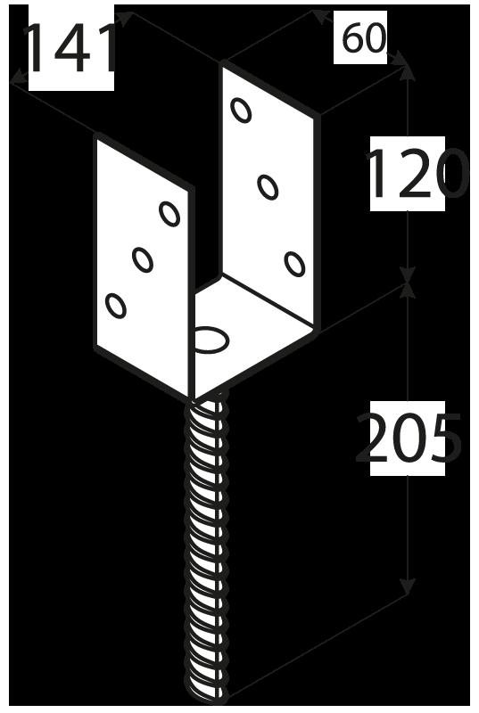 """PS 140U (141*120*5) Patka sloupku 140 typu """"U"""" 1"""
