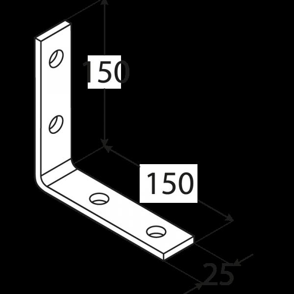 KW7 - úhelník úzký150x150x25x5,0 mm 1