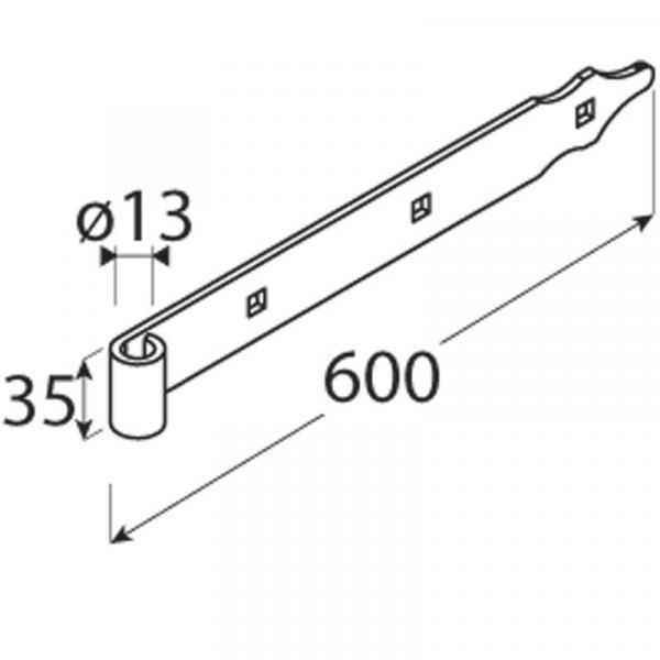 ZP 600 d 13 c Závěs pásový 600x35/4,0 d 13 mm černý 1