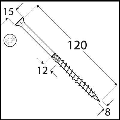 CS 08120 tesařský vrut se zapuštěnou hlavou  8×120 50kus/bal