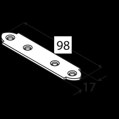 LW100 – spojka úzká 98x17x2,0 mm