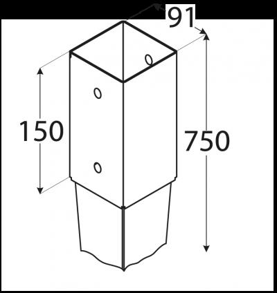PSG  90/750 (91*750*2) Patka sloupku 90 k zarážení