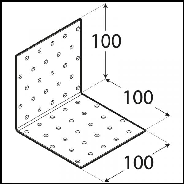 KM13 - úhelník montážní 100x100x100x2,0 mm 1
