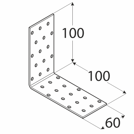 KM11 - úhelník montážní 100x100x60x2,0 mm 1