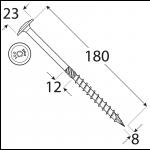 CT 08180 tesařský vrut s talířovou hlavou 8x180 50kus/bal 7