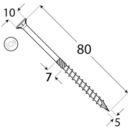 CS 05080 tesařský vrut se zapuštěnou hlavou 5x80 200kus/bal 1