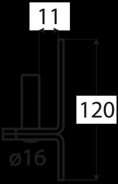 C 16/11    držák čepu  d 16 mm /11 mm