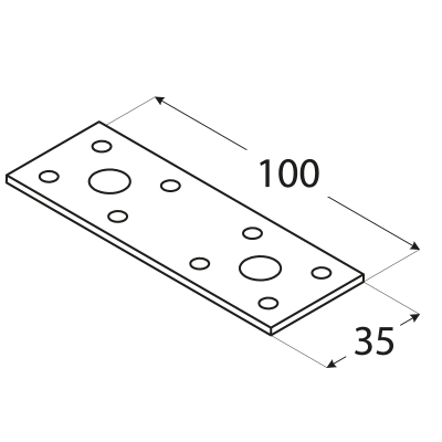 LP1 – spojka plochá 100x35x2,5 mm