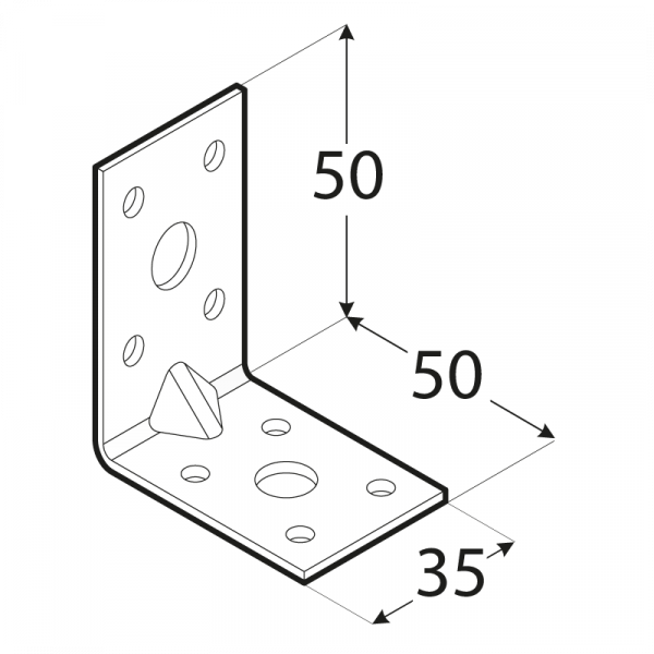 KPL 5 - úhelník s prolisem 50x50x35x2,0 mm 1