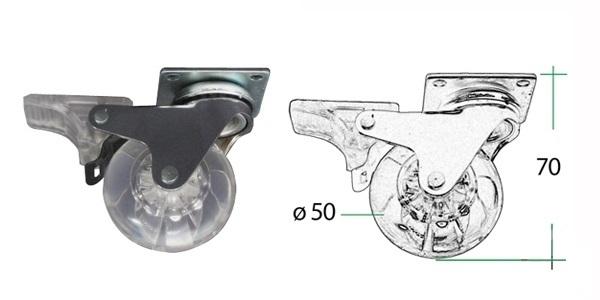 Kolec. zatez. transp. s brzdou pr.50mm 35kg 1