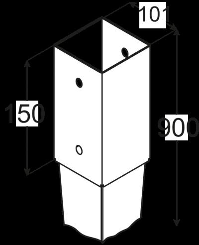 PSG 100/900 (101*900*2) Patka sloupku 100 k zarážení