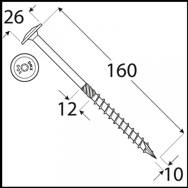 CT 10160 tesařský vrut s talířovou hlavou 10x160 50kus/bal 1