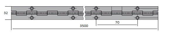 Zaves pianovy PMS 32*0.6*3500/70 1