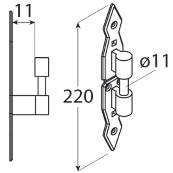 CAD 11 Držák čepu dekorační 11x220x5 1