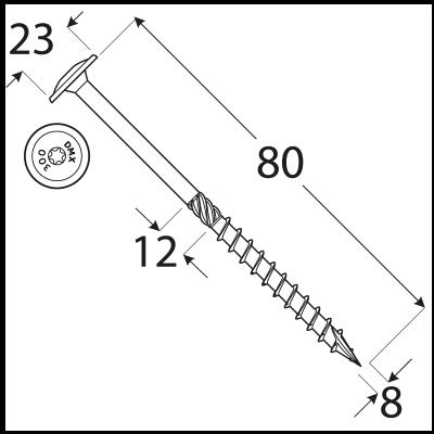 CT 08080 tesařský vrut s talířovou hlavou 8×80 50kus/bal