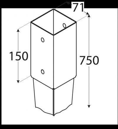 PSG  70/750 (71*750*2) Patka sloupku 70 k zarážení