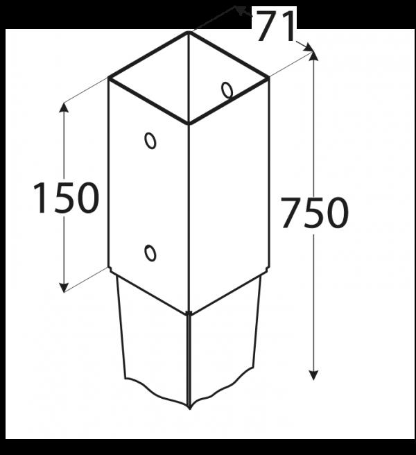 PSG 70/750 (71*750*2) Patka sloupku 70 k zarážení 2