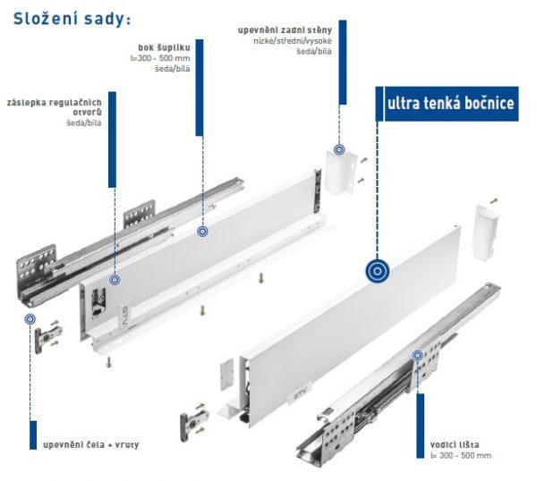 LinosBox A 84/500mm nízký šedý 1