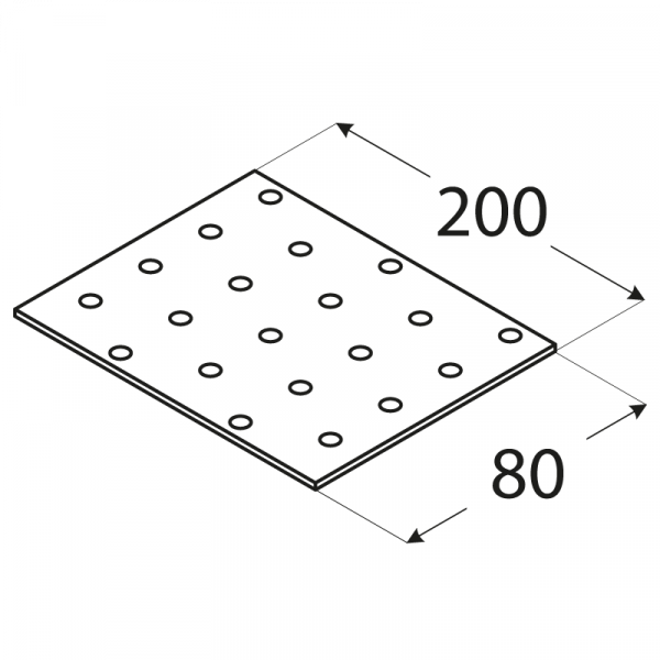 PP9 - destička perforovaná 200x80x2,0 mm 1