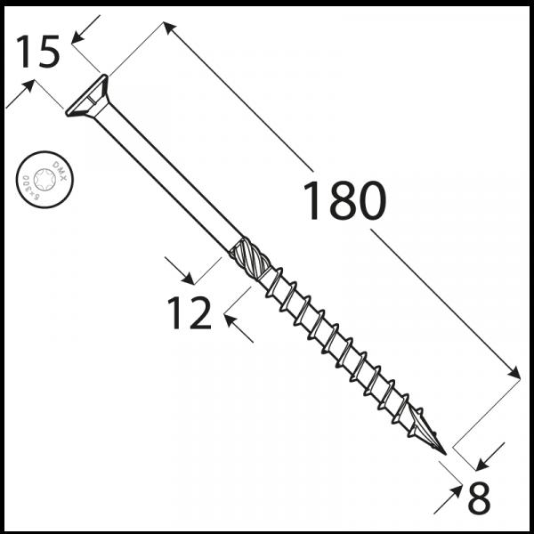 CS 08180 tesařský vrut se zapuštěnou hlavou  8x180 50kus/bal 1
