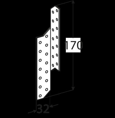 LK1 – krokvová spojka levá 32x170x2,0 mm