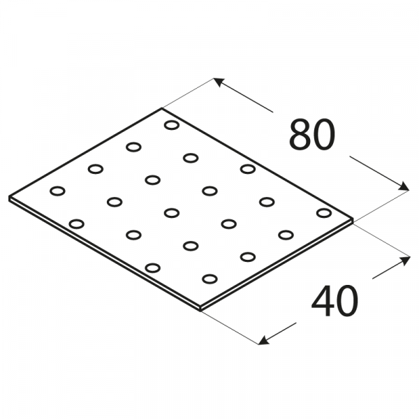 PP1 - destička perforovaná 80x40x2,0 mm 1
