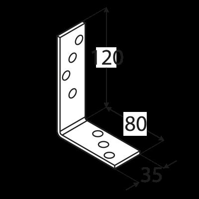KB2 – úhelník trámový 120x80x35x4,0 mm