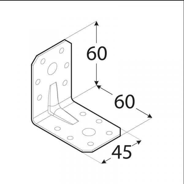 KPL 6 - úhelník s prolisem 60x60x45x2,0 mm 1