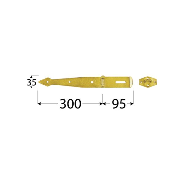ZZB 300 Závěs zamykací brankový pásový 300x2,5 mm 1