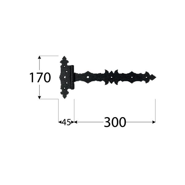ZBD 300 C Závěs brankový ozdobný 300x45x90x3,0 mm černý 1