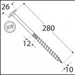 CT 10280 tesařský vrut s talířovou hlavou 10x280 25kus/bal 1