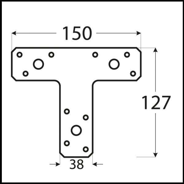 """KT2 - spojka typu """"T"""" 150x125x35x2,5 mm 1"""