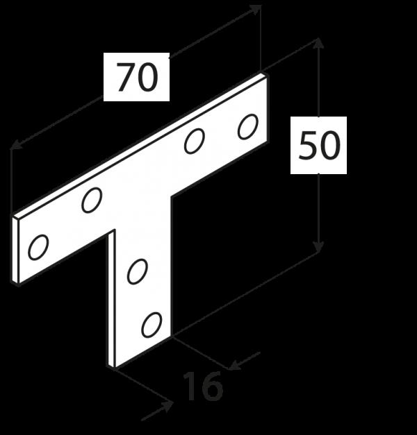 """KT1 - spojka typu """"T"""" 70x50x16x2,0 mm 1"""
