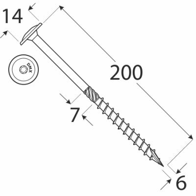 CT 06200  tesařský vrut s talířovou hlavou 6×200 100kus/bal