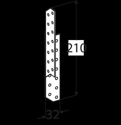 LK4 – krokvová spojka pravá 32x210x2,0 mm