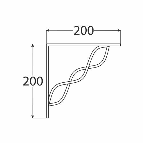 WPRP 200 konzole se splétanou vzpěrou 200x200 černá 1