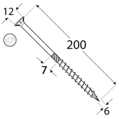 CS 06200 tesařský vrut se zapuštěnou hlavou  6×200 100kus/bal
