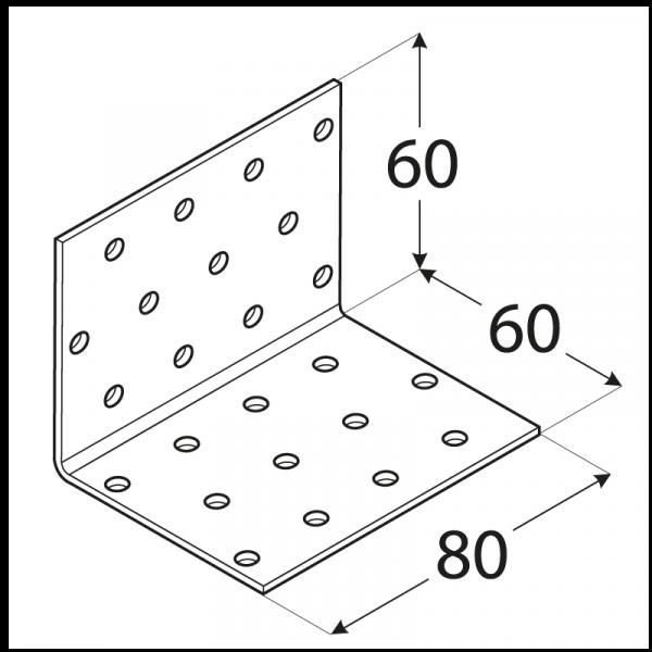 KM5 - úhelník montážní 60x60x80x2,0 mm 1
