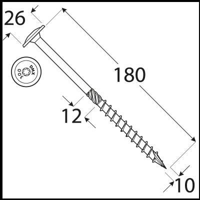 CT 10180 tesařský vrut s talířovou hlavou 10×180 50kus/bal