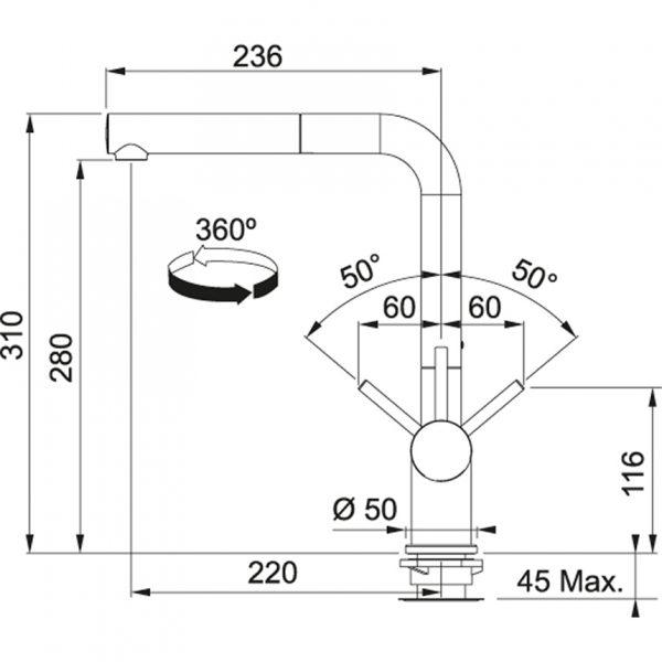Baterie FN 6110.084 šedý kámen/chrom 2