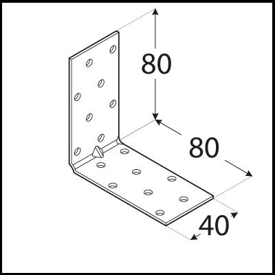 KMP 7 – úhelník montážní s prolisem 80x80x40x1,5 mm