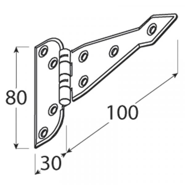 ZAT 100 Závěs trojúhelníkový 100x1,5 1