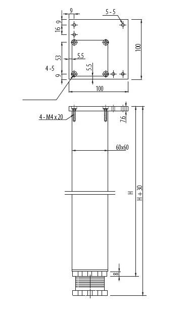 Stol.noha ctvercová 60*60*710 AL hliník 2
