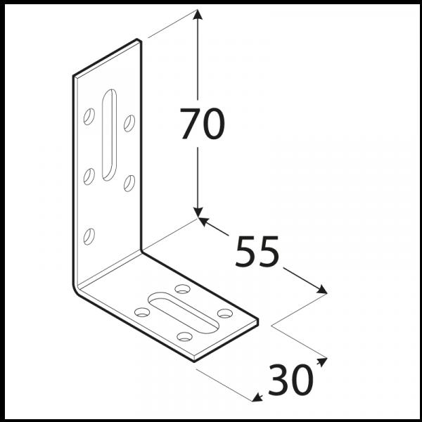 KRD 2 - úhelník stavitelný 70x55x30x2,0 mm 1