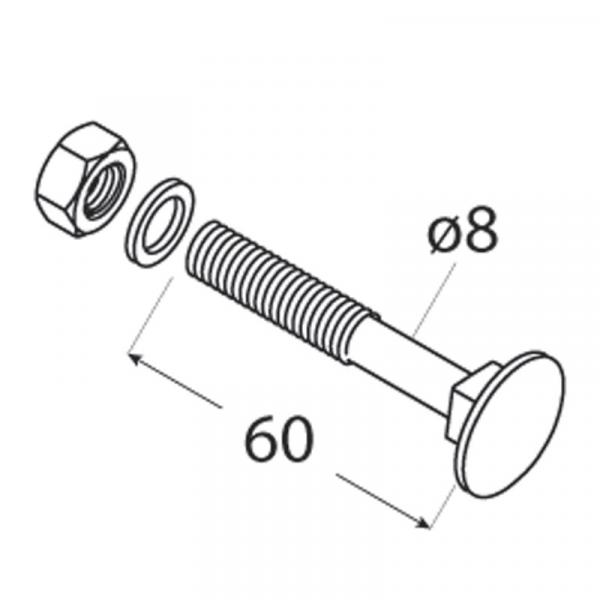 ZACB 08060 Šroub vratový černý C 8x60 4ks/balení 1
