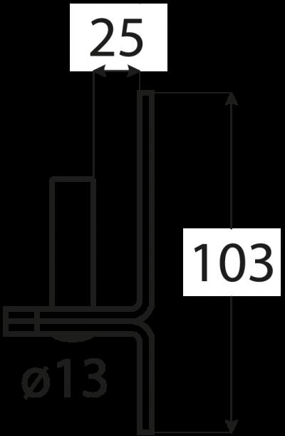 C 13/25    držák čepu  d 13 mm /25 mm